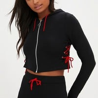Black Lace Up Side Zip Front Hoodie