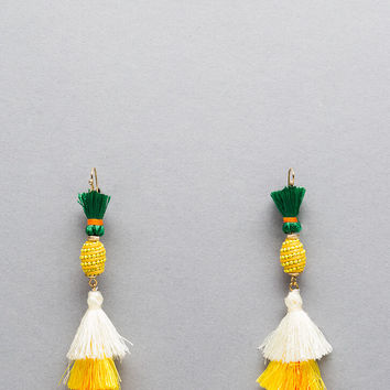 Pina Colada Tasseled Pineapple Earrings