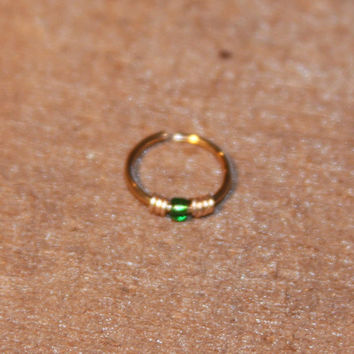 Small Nose Ring, Green Beaded Nose Ring, Nose Hoop, Hoop Earring, Cartilage Hoop, Endless Hoop, Seamless Hoop, Piercing Jewelry, Hoop