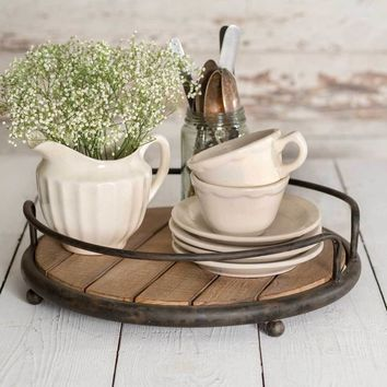 Round Wood Plank Serving Tray