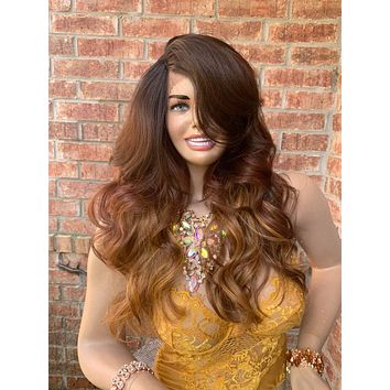Blonde Brown Ombré Hair Fringe Loose Curls Lace Front Wig 819 *PATINA*