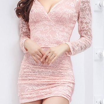 Pink Patchwork Hollow-out Lace Sequin Plunging Neckline Mini Dress