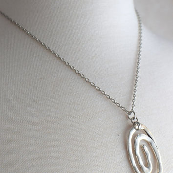 Antiqued Silver Swirl Necklace, Modern Jewelry, Stainless Steel Necklace, Stainless Chain, Silver Necklace, Gift under 30