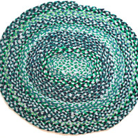 Oval Braided Tshirt Rag Rug- Navy, blue, green, teal, gray