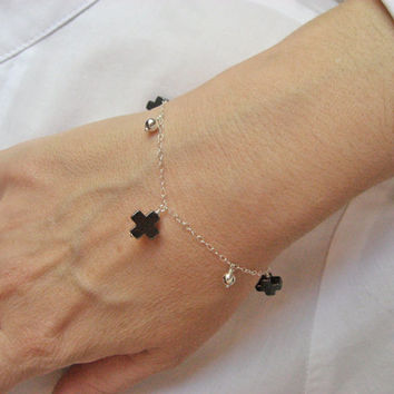 Cross Bracelet, 925 Sterling Silver, Hematite Cross Bracelet, Dangle Bracelet, Silver Bead Bracelet, Delicate Jewelry, Gift  Under 30