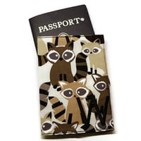 Personalized raccoons passport holder, passport cover, passport case. Monogrammed travel gift idea. Under 20 gift.
