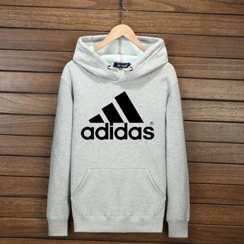 Adidas Trending Women Men Casual Top Long Sleeve Print Sweater Pullover Hoodie Light Grey I-YSSA-Z