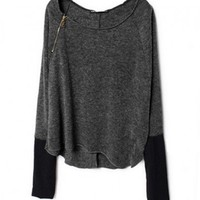 Gray Wide Round Collar Knit Jumper with Raglan Sleeves