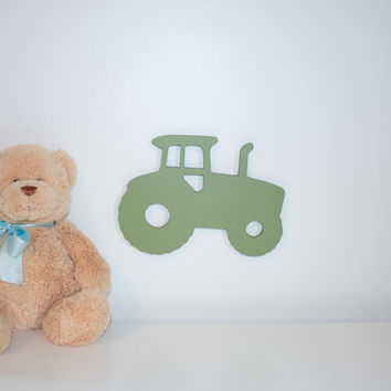 6 inch green tractor carved from wood boy nursery decor farm themed nursery car and truck nursery decor