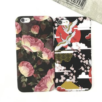 Fashion flower/red-crowned crane printed plastic Case Cover for Apple iPhone 7 7Plus 6 Plus 6 -05012