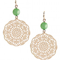 Charming stone with floral filigree dangle Earring