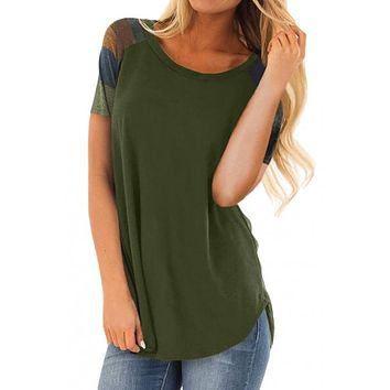 Army Green Color Block Short Sleeve Loose Fit Top