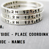Quote Idea - Personalized Ring, Coordinates, Stamped, Solid Sterling **NOTE pricing is for a single ring