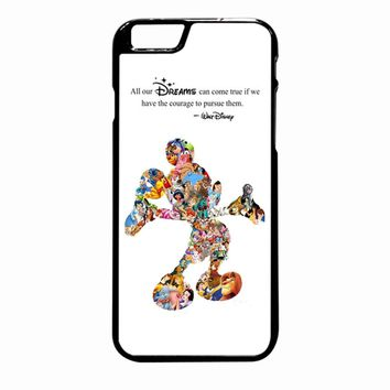 White Walt Disney Quote Mickey Mouse Character Montage iPhone 6S Plus case