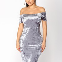 Rochelle Velvet Dress - Dusty Blue