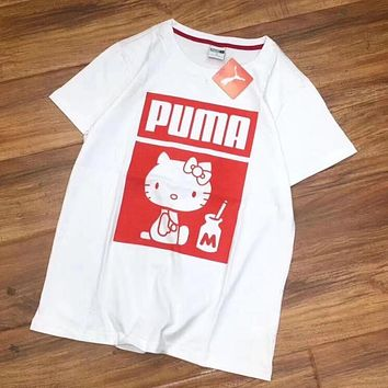 "Hot Sale ""PUMA x Hello Kitty"" Fashion Women Men Casual Print Short Sleeve Round Collar T-Shirt Top I"