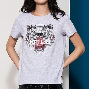 KENZO Woman Men Fashion Tiger Head Tunic Shirt Top Blouse