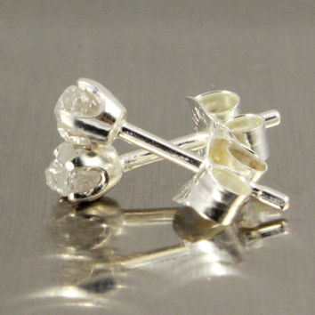 White Diamond Ear Studs - 3mm Tiny Post Earrings, Four Prongs - Raw Rough Diamonds on Silver Posts - Natural Conflict Free Diamonds