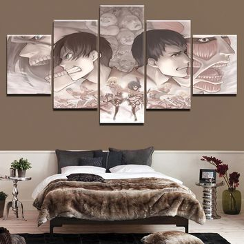 Cool Attack on Titan Wall Art Modular Pictures Canvas Painting For Living Room Decorative Framework 5 Panel Anime  HD Printed Poster AT_90_11
