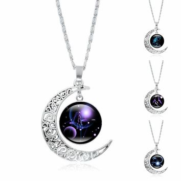 12 Constellation Silver Cresent Moon Pendant Necklace