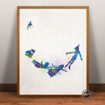 Disney Illustration, Peter Pan Watercolor, Peter Pan Poster, Disney Art, Watercolour, Giclee Wall, Kid Artwork, Comic, Fine, Home Decor