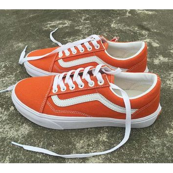 VANS Classic Old Skool Popular Women Men Casual Flats Shoes Sneakers Sport Shoes Orange I12509-1