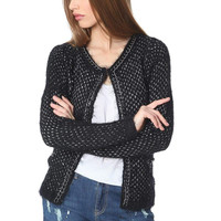 Q2 Black Knitted Jacket With Chunky Chain Trim