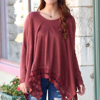 Handkerchief Lace Crochet Trim Tunic {Brick}