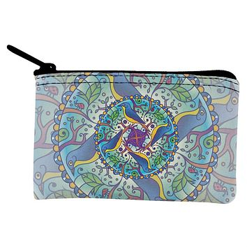Mandala Trippy Stained Glass Spring Birds Coin Purse