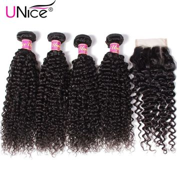 UNICE HAIR 5PCS Brazilian Curly Weave Human Hair Bundles with Closure 100% Remy Hair Weaves 4 Bundles with Closure Free Shipping