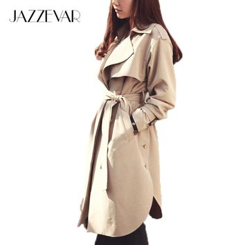 Jazzevar New Spring Autumn Fashion Casual Women's Khaki Trench Coat Long Outerwear Loose Clothes For Lady With Belt - Beauty Ticks