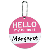 Margaret Hello My Name Is Round ID Card Luggage Tag