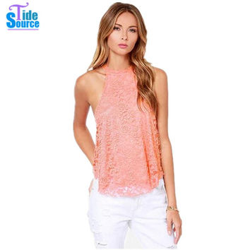 Hot Sale 2015 Western Solid Sleeveless Sweet Floral Crochet Lace T shirt Women Tops Sexy Hollow Out Backless All-match Tank Top