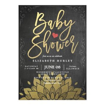Chic Gold Floral Chalkboard Baby Shower Invitation