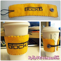 Block B cross stitch felt drink cozy sleeve