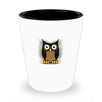 Owl Bird Hanging From a tree drinking shot glass
