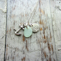 Anchor Necklace, Personalized Charm Necklace with Seafoam Sea Glass Anchor and Initial Charm Sterling Silver, Beach Girl
