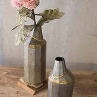 Set Of 2 Vintage Brass Metal Vases