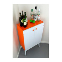 Bar Cabinet, Bar Cart Barware Storage Tea Coffee Station Barcart Orange White Shelf Living Room Entertaining Dining Table Mid Century Modern