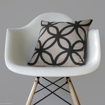 Mod Geometric Pillow | Charcoal Gray Felt Design | Modern Home Decor by Jillian Rene Decor | Mid Century Inspired | Cushion Cover