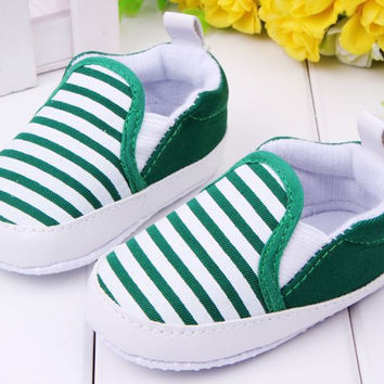 baby boy first walkers fashion striped canvas baby shoes New