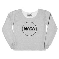 Nasa Logo Chopped Sweatshirt-Female Heather Grey T-Shirt