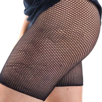 Fishnet biker tights