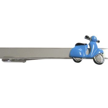 Blue Moped Scooter Square Tie Clip