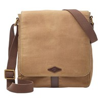 Men's Fossil 'Trevor' Waxed Canvas City Bag - Beige
