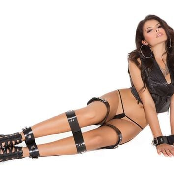 Leather wrist, thigh, calf and ankle restraints *Available  Boxed Black