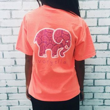 2016 Trending Fashion Summer Pink Elephant Printed Women Short Sleeve Top Women Tank Vest T-Shirt Top