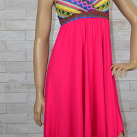 Tribal Embroidery Knit Sweetheart Trapeze Dress-Hot Cherry Pink