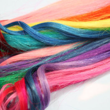 Rainbow Colored Human Hair Extensions Colored Hair by Cloud9Jewels
