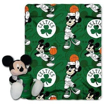 Boston Celtics NBA Mickey Mouse Throw and Hugger Pillow Set